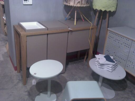 Tectonic cabinet and Dot tables in Marka concept store in Krakow.