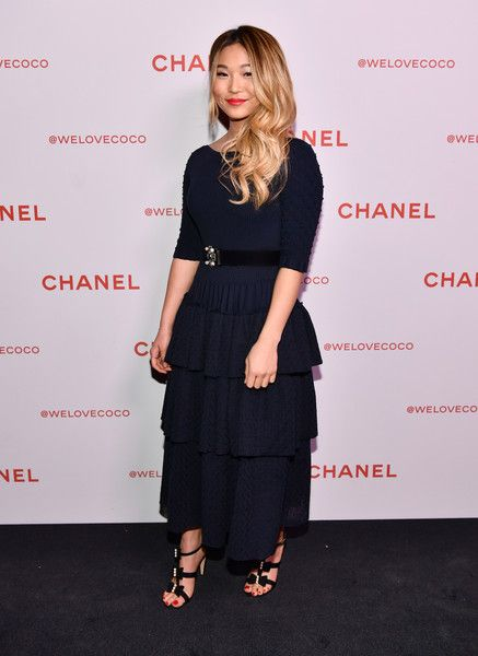 Chloe Kim, wearing Chanel, attends a Chanel Party to celebrate the Chanel Beauty House and @WELOVECOCO at Chanel Beauty House on February 28, 2018 in Los Angeles, California.