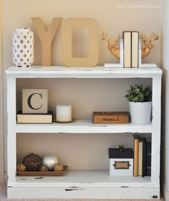 DIY White Chalk Paint Bookshelf - Craft-O-Maniac