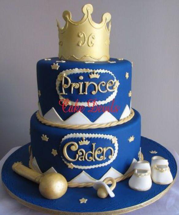 torta para baby shower con corona