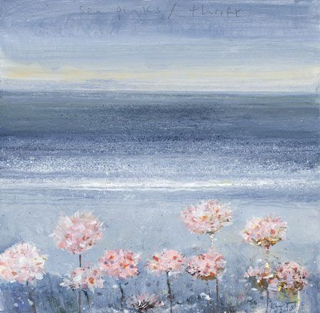 'SEA PINKS / THRIFT. MAY 2014.' | Kurt Jackson: mixed media on board 20.5 x 21cm. 'This bit of cliff forms a wild front garden of buckhorn plantain, sea beet and thrift, with the thrift or sea pink forming wind-sculpted cushions of blue green each crowned with its own pink array of flowers. Stone still and solid in the path of sea blown gales and Atlantic storms the flowers sit waiting to be painted at the foot of my sea studies. They exist as an excuse to use the pink in my paint box.' ✫ღ⊰n
