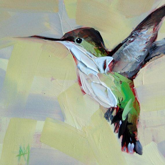 Angela Moulton: Hummingbird no. 38   prattcreekart A little different because I used a palette knife.