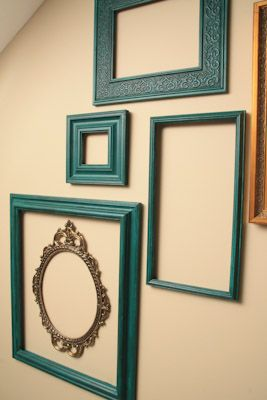 a great  blog post featuring lots of inspiring possibilities for empty picture frame collages, and tips & tricks.