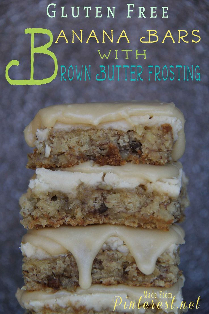 Gluten Free Banana Bars with Brown Sugar Frosting.