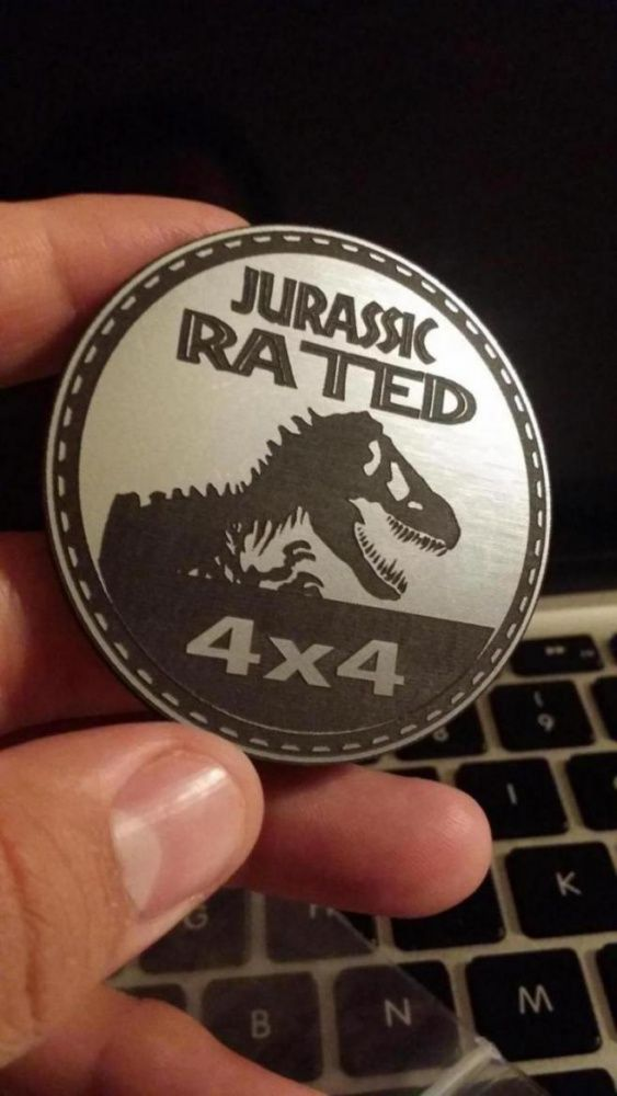 Jurassic Park Rated Jeep Badge