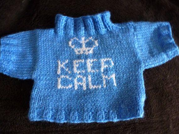 Hand Knitted Sweater for Build a Bear Animal Keep Calm