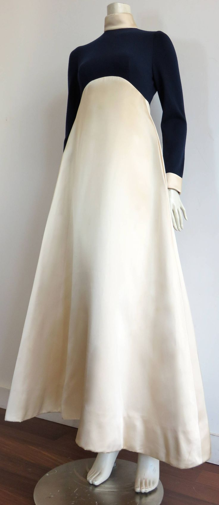 1960's GEOFFREY BEENE Satin & jersey evening gown dress | From a collection of rare vintage evening dresses at https://www.1stdibs.com/fashion/clothing/evening-dresses/