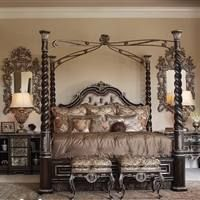 Tufted Headboard Four Post Bed High Style