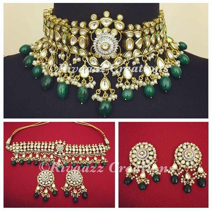 Beautiful Hydrabadi kundan choker and earrings set by Rivaazz Creations.