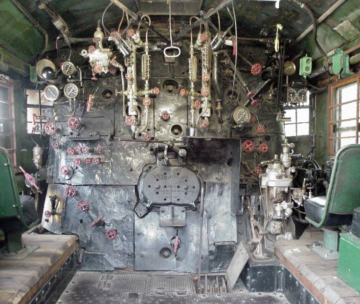 "Inside of a Union Pacific ""Big Boy"" steam locomotive."