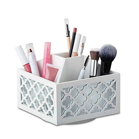 Give your beauty products a fashionable new home with the Cosmetic Organizer Spinner. With a simple to move, white matte finish container, reaching for what you need is a breeze. Place in any space for a chic spin on traditional storage boxes.