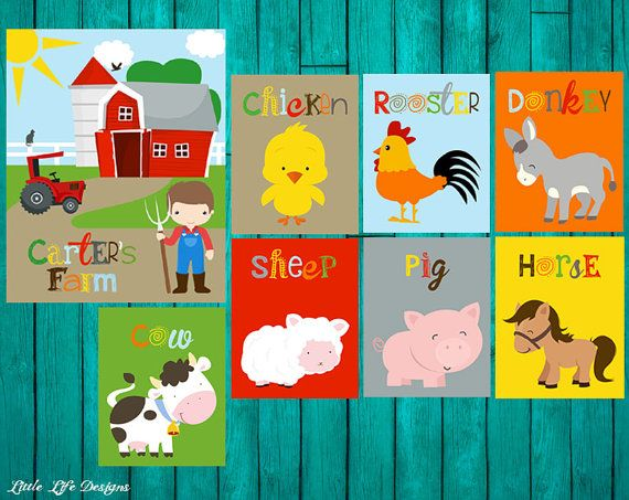 Farm Nursery Decor. Farm Animal Nursery Art. Farm Party Decor by LittleLifeDesigns