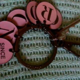 Oroton Key Chain in Berry Icing.