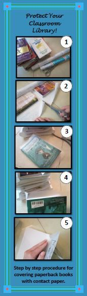 Cover books in contact paper to extend their life. Great classroom library tip! (step by step instructions in blog post)