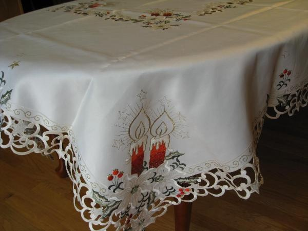 Christmas Candle Tablecloth Made Of Polyester Available At The Spiro  Flowers And LaFleur Home Decor Facebook Page. Sizes Available; 68 Inches X  90 Inches, ...