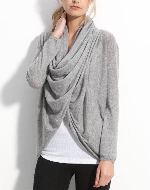 Love this cozy draped cardigan.
