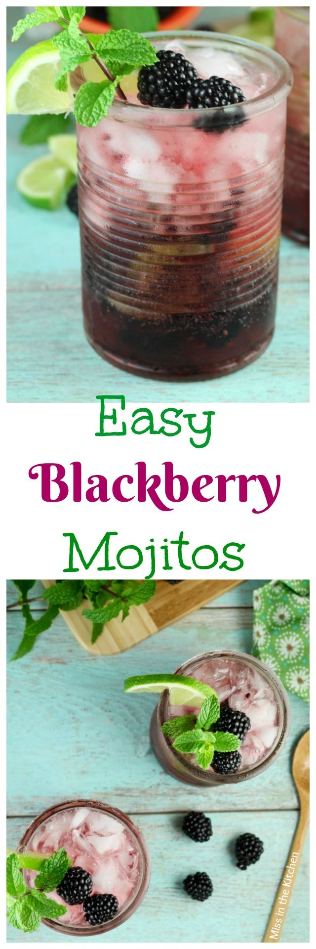 Easy Blackberry Mojitos Recipe ~ A refreshing and delicious summer cocktail! From MissintheKitchen.com #ad #SayYesToSummer #JustAdd7UP