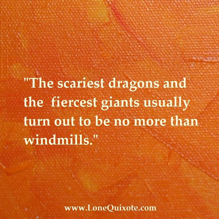 "The scariest dragons and fiercest giants...   usually turn out to be no more than windmills.""    ~ Lone Quixote"