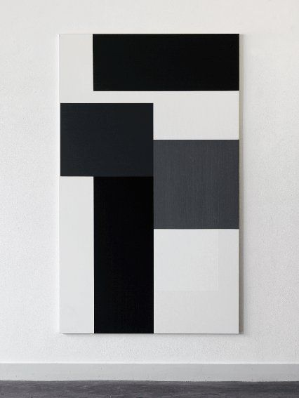 Arjan Janssen, oil on canvas, 2005 | i see a sense of movement and three-dimension with the placement of these black white and grey rectangles...