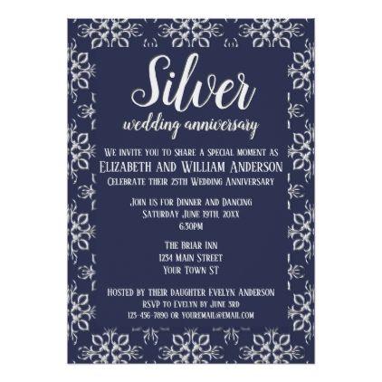 Elegant Blue And Silver 25th Wedding Anniversary Card Gifts Style Giftidea Diy Cyo Invitation