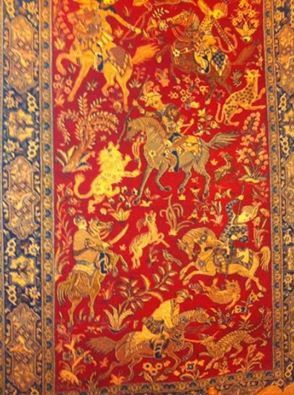 Persian Rug  from Qum Iran Hunting scene 4'6 x 6'9 by BIESEMANS, $10500.00
