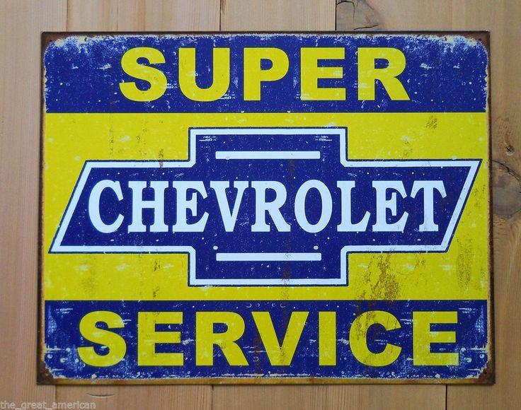 Super Chevrolet Service Chevy Car Truck Vintage Metal Tin Sign