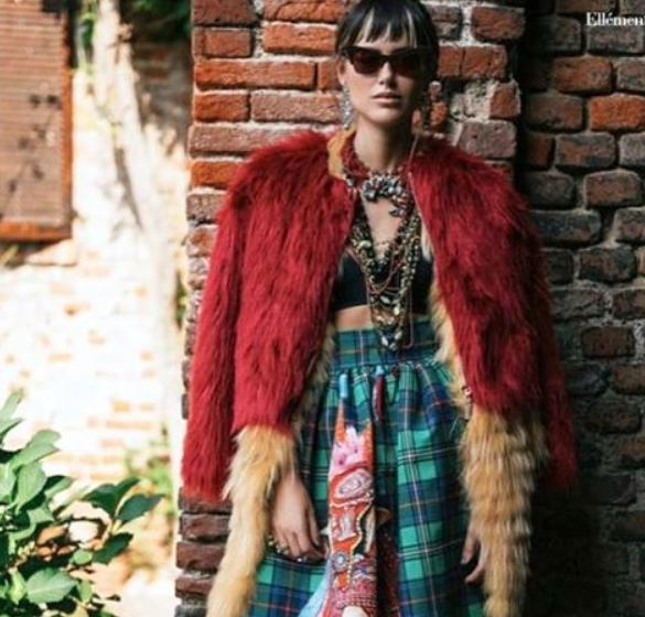 """""""Add colors to your life• Mangano on Elléments magazine, Red eco-fur jacket """"Serre"""""""