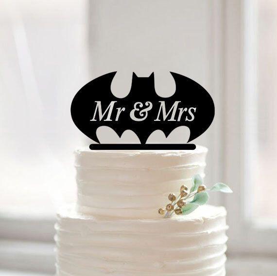 Batman weding cake topper-mr &mrs cake topper-rustic cake topper-gold cake topper-funny batman cake topper for wedding-unique cake toppers by Muggses on Etsy https://www.etsy.com/listing/238882417/batman-weding-cake-topper-mr-mrs-cake