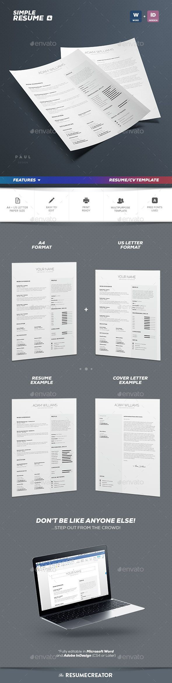 Simple ResumeCv Volume 4 by paolo6180 Professionally