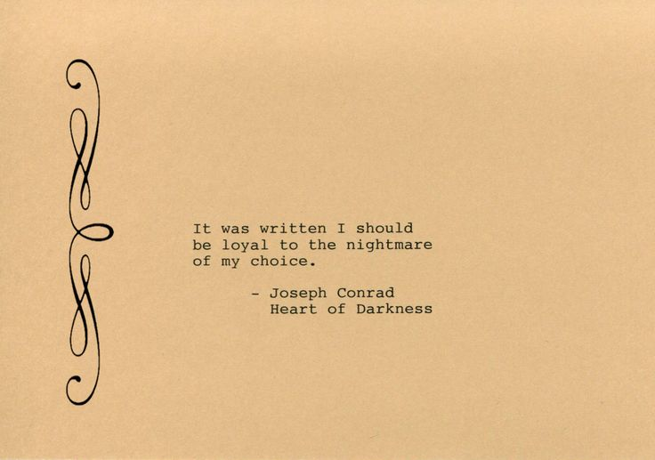 Joseph Conrad Quote Made on Typewriter  Art Quote Wall Art - Heart of Darkness - It was written I should be loyal to the nightmare by FlightOfFancyPrints on Etsy