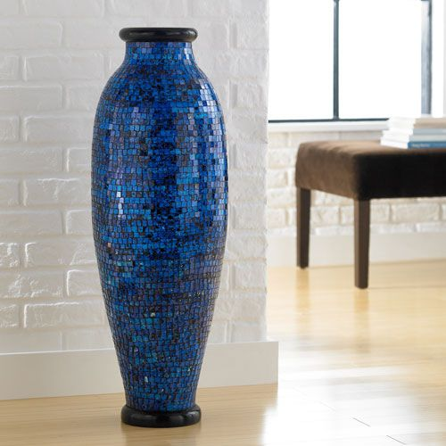 Ocean blue mosaic floor vase polivaz vases vases home for Home decor vases