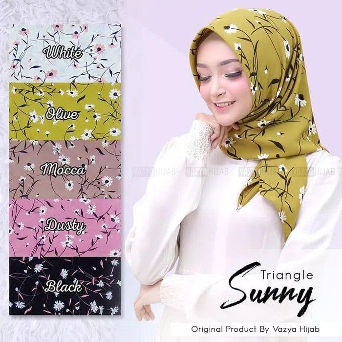 Triangle Segitiga Instant Sunny Hijab Segitiga Instan Motif Bunga Daisy Kecil Bisa Dipadukan Dengan Blouse Sunrise Bisa K Jarum Pentul Bunga Daisy Selendang