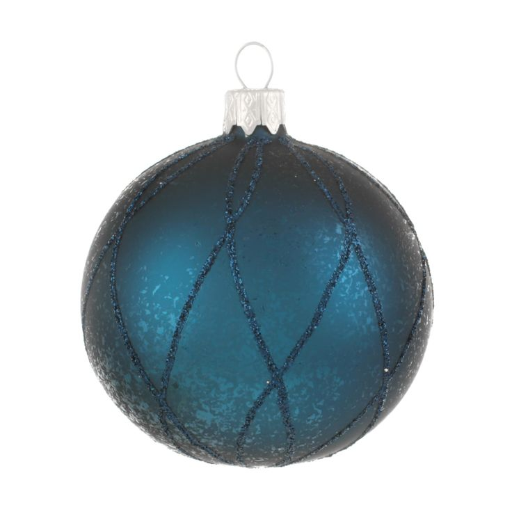 Very luxurious and decorative glass Christmas bauble, matt petrol with blue glitter details.