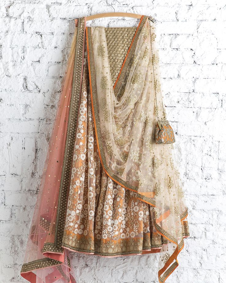 SwatiManish : Tangerine Lehenga With Dual Dupatta Ivory & Peach