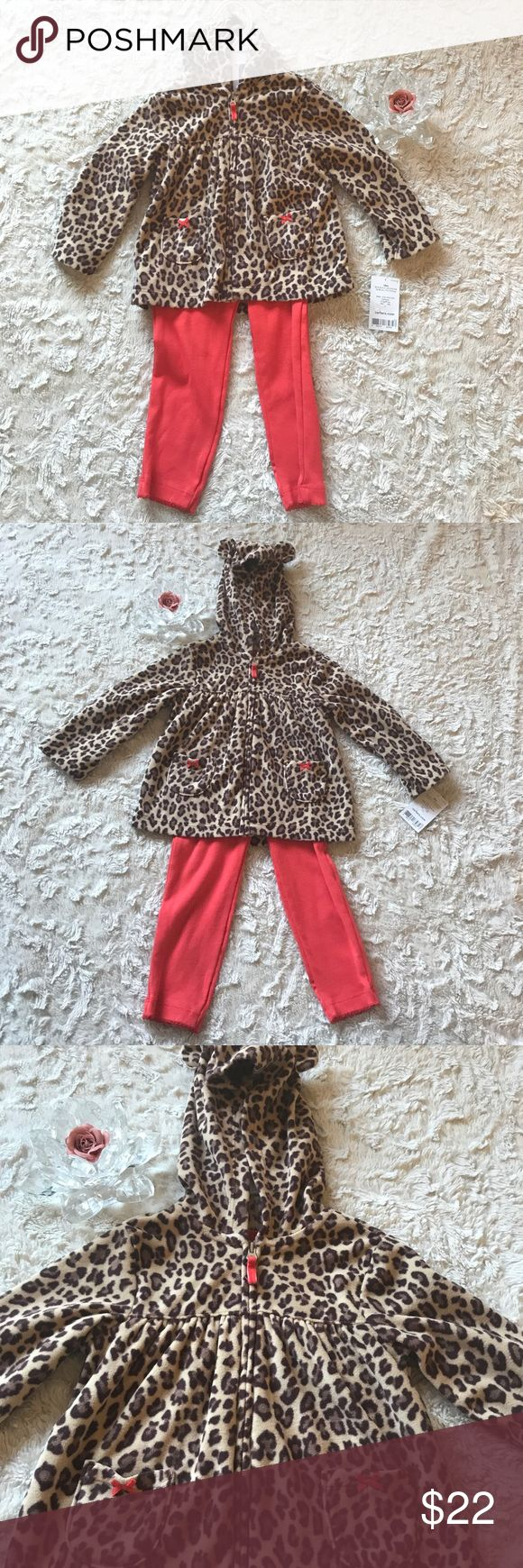 Carter's 2 Pcs Girls Micro Set Sz 18 Months New with tags  2 pieces set  Coral elastic pull on leggings and Fleecy animal print hoodie jacket with animal ears 2 pockets. Full zip. Stylish & warm! Retail Price $32.  Please check my other listing i do combine shipping   Location : Winter Box Carter's Matching Sets