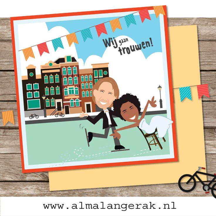 Leuke #winterse #maatwerk #trouwkaart . met de #grachten van #Amsterdam en wat  strak getekende #grachtenpandjes. Daarnaast wilden ze samen #schaatsend afgebeeld worden, op basis van een eerder door mij gemaakte #trouwkaart .  Tom en Larissa, als jullie dit nog lezen, hopelijk hebben jullie een prachtige #bruiloft gehad. Het weer heeft zich in ieder geval (bijna) aangepast aan jullie #uitnodigingen . #fietsen #fiets #vlaggetjes #trouwkaarten #maatwerk #cartoon