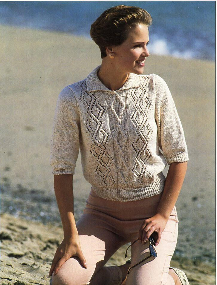 """womens short sleeve sweater with collar knitting pattern pdf ladies jumper 30-40"""" DK light worsted 8ply womens pattern instant download by Hobohooks on Etsy"""