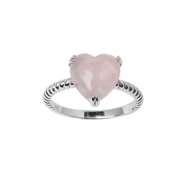| Rose quartz heart twist ring - in solid 925 sterling silver | #rosequartzring #heartring #sterlingsilverheartring #sterlingsilverjewellery #handcraftedjewellery #handmadejewellery www.pinchandfold.com