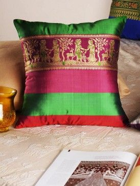 Green-Pink Handloom Silk Cushion Cover  16in x  15.5in