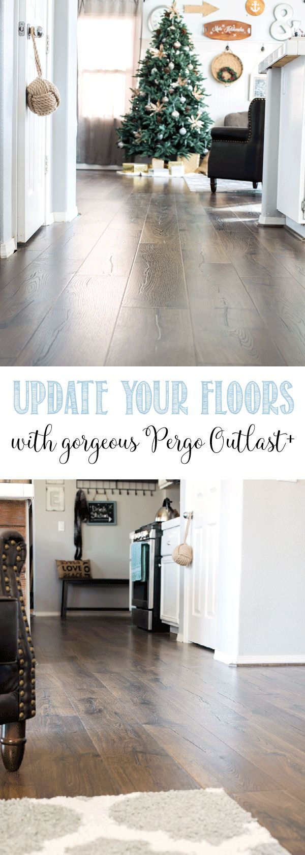 Update your floors with Pergo Outlast+ in Vintage Tobacco Oak which is 24-hour water resistant laminate perfect for kids and pets @genuinepergo #sponsored