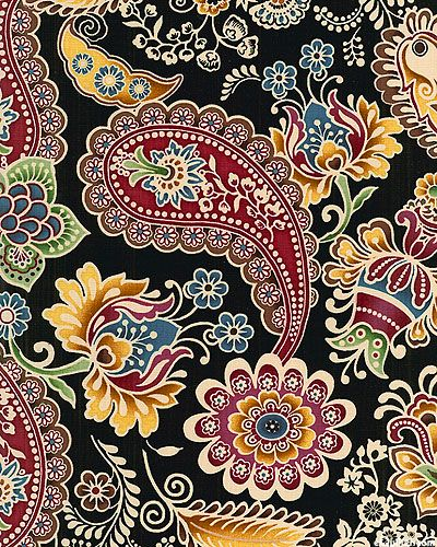 Belle Notte-Paisley A L Russe-Black  A Red Rooster Fabric