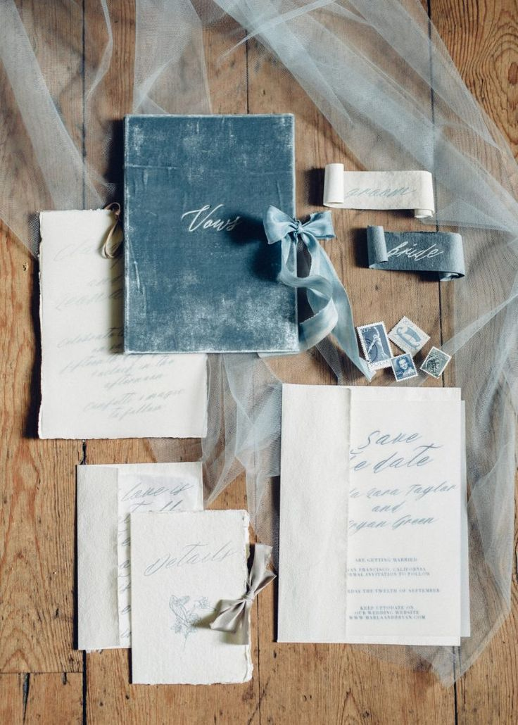The blue ink makes these wedding invitations a standout!