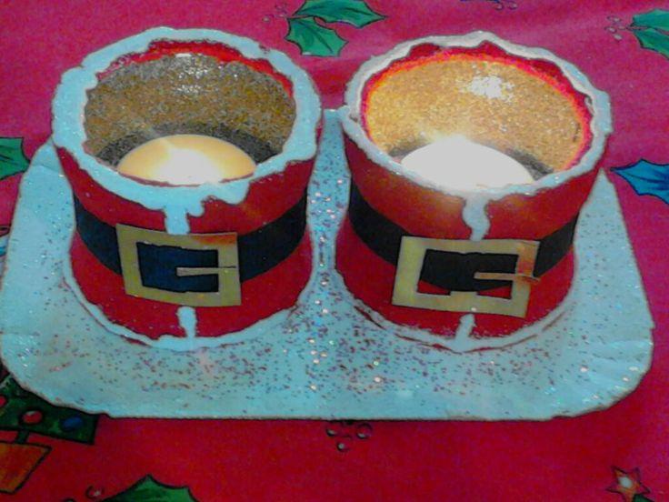 christmass  tealights nescafe(empty) gliter ..tea lights {ιδεα χριστουγενιατικη αδεια κουτια νεςκαφε κοκκινη τσοχα, χρυσοσκονη, και ρεσω}