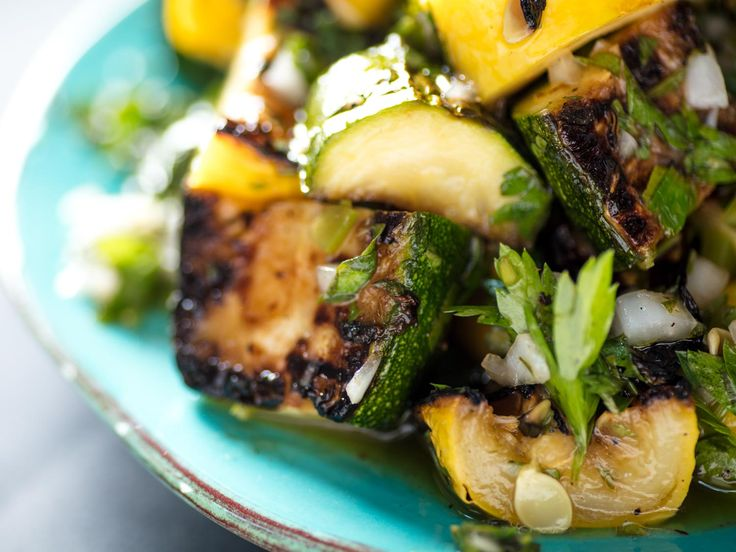 Chimichurri is an Argentine herb sauce commonly served with steaks and other grilled meats, but it's just as delicious spooned onto vegetables, like the grilled zucchini and summer squash here. This version of chimichurri includes both parsley and cilantro, along with olive oil, red wine vinegar, and plenty of onions, garlic, and minced jalapeño for heat.