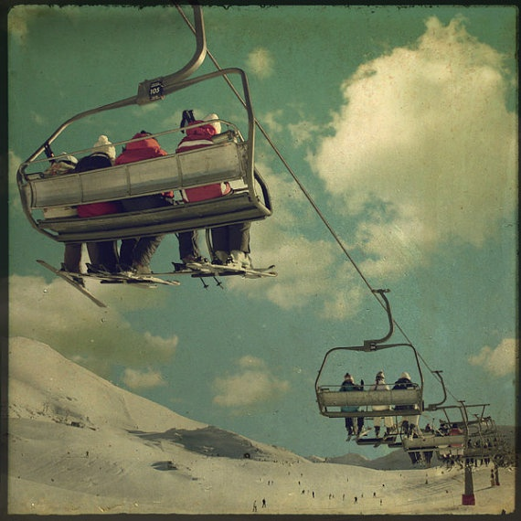 French Alps Ski Lift  8x8 inch Photograph Winter by TimIrving