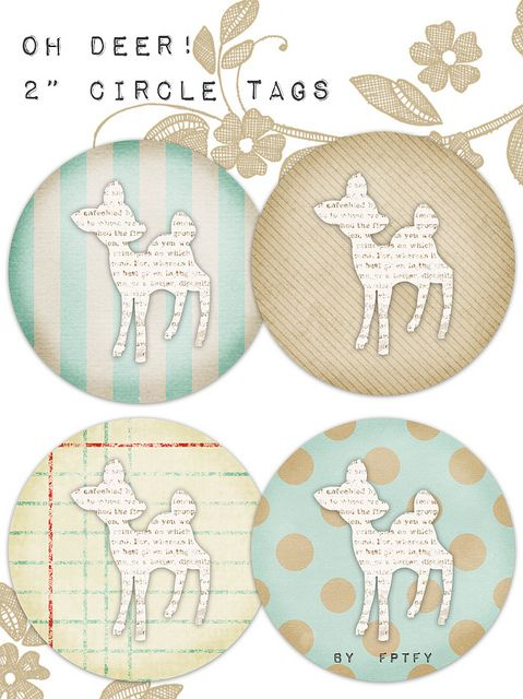 free vintage deer 2 in circle tags by FPTFY web ex by Free Pretty Things For You!, via Flickr