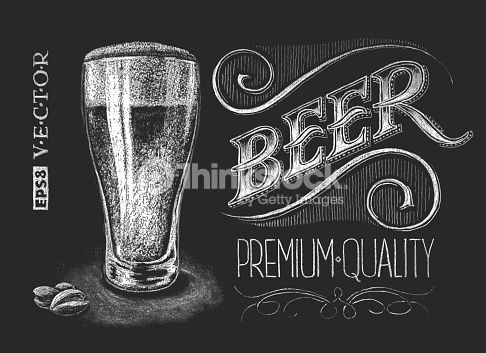 Vector illustration of chalk beer glass on blackboard.