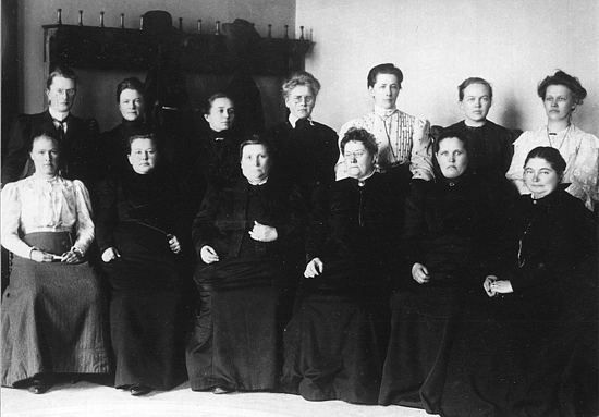 Finnish women became the first in the world to have unrestricted rights both to vote and to stand for parliament. These 19 women were the first female MPs in the world. Women have continued to play a central role in the nation's politics ever since. Miina Sillanpää, a key figure in the worker's movement, became the first female minister in 1926.