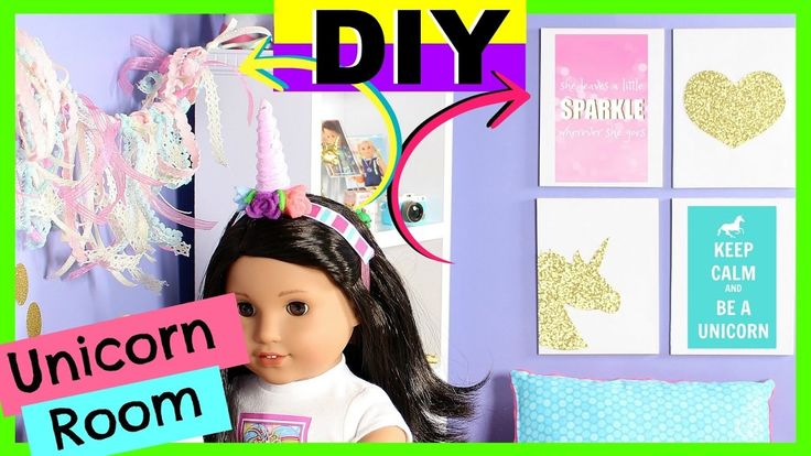 DIY UNICORN ROOM   American Girl Doll Unicorn Room Decor