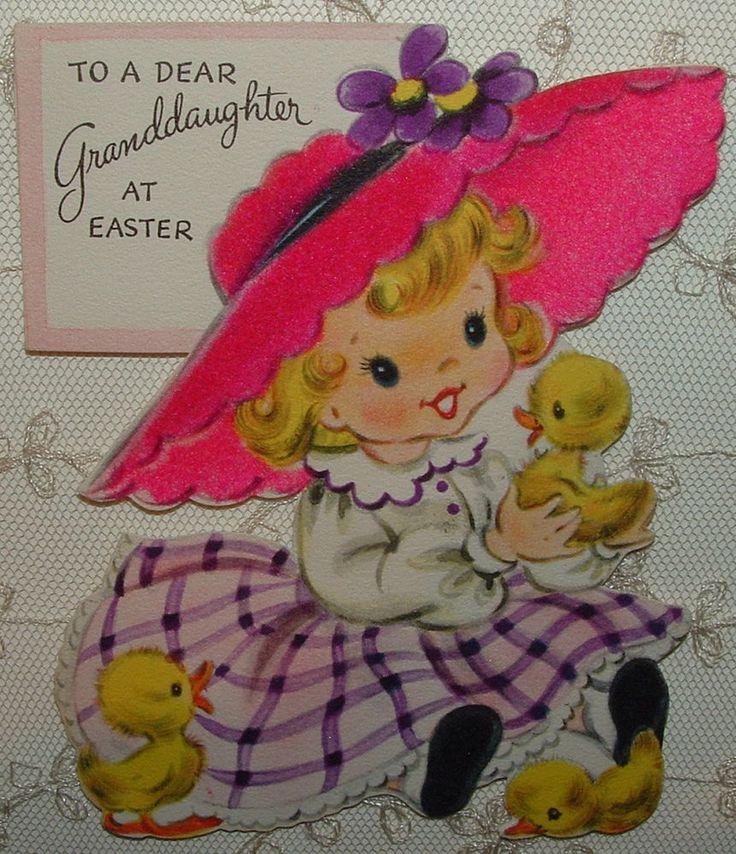 Flocked - Sweet Little Girl w/ Baby Ducks - 1955 Vintage HALLMARK Greeting Card